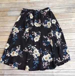 🌴EUC Bobeau Black Floral Midi Flowy Skirt